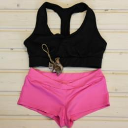 Комплект розовые шорты для Pole Dance и спортивный топик